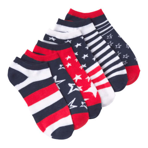 Women's Stars and Stripes No Show 6 Pair Pack Red and White and Blue