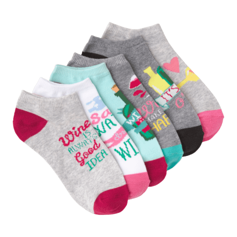 Women's Wine Time No Show 6 Pair Pack Assorted