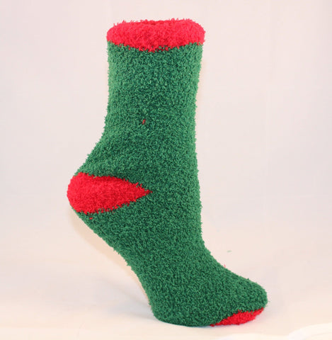 Green Fuzzy Socks with Red Trim