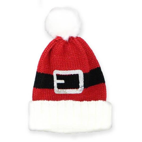 Santa Belt Knit Hat Red