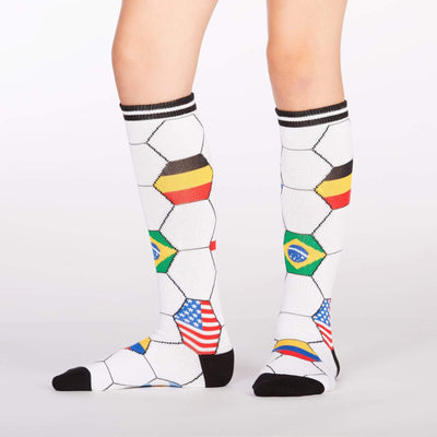 Kick It Socks Youth Knee High Socks Ages 3-6 White