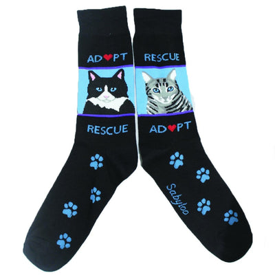 Rescue Adopt Cat Crew Socks