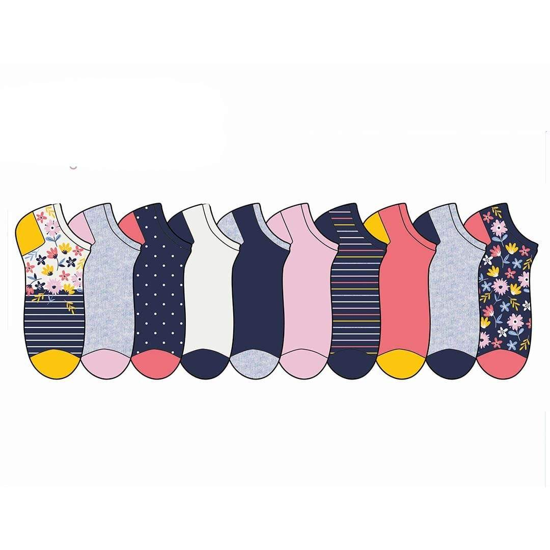 Floral Novelty No Show Socks 10 Pack Multi