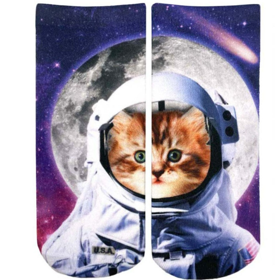 Astronaut Cat Ankles Socks Purple