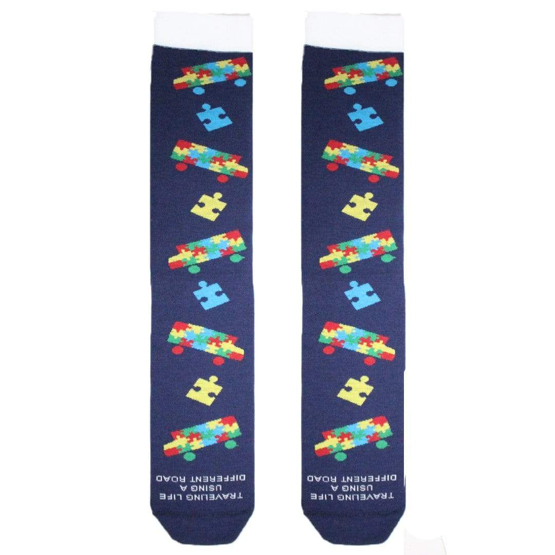 Bus Puzzle Piece Autism Awareness Socks Unisex Crew Sock Unisex / blue