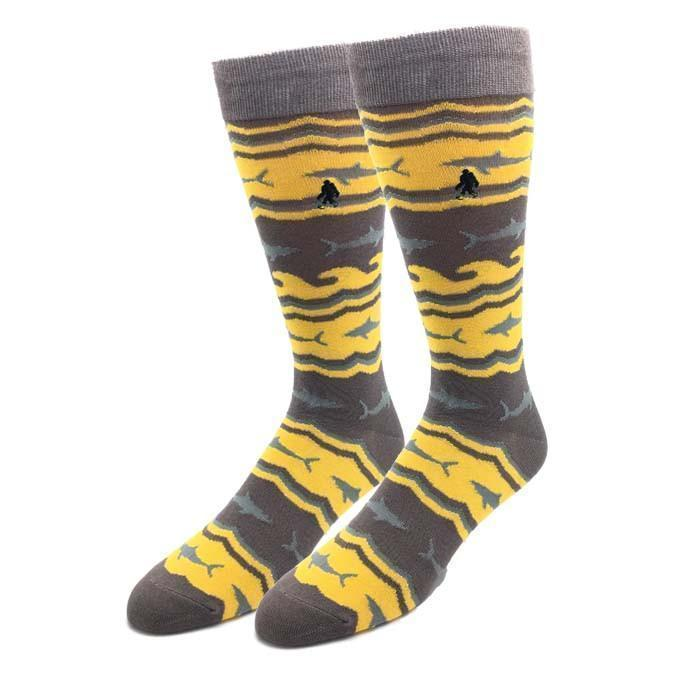 Bamboo Shark Socks Men's Crew Dress Sock gray