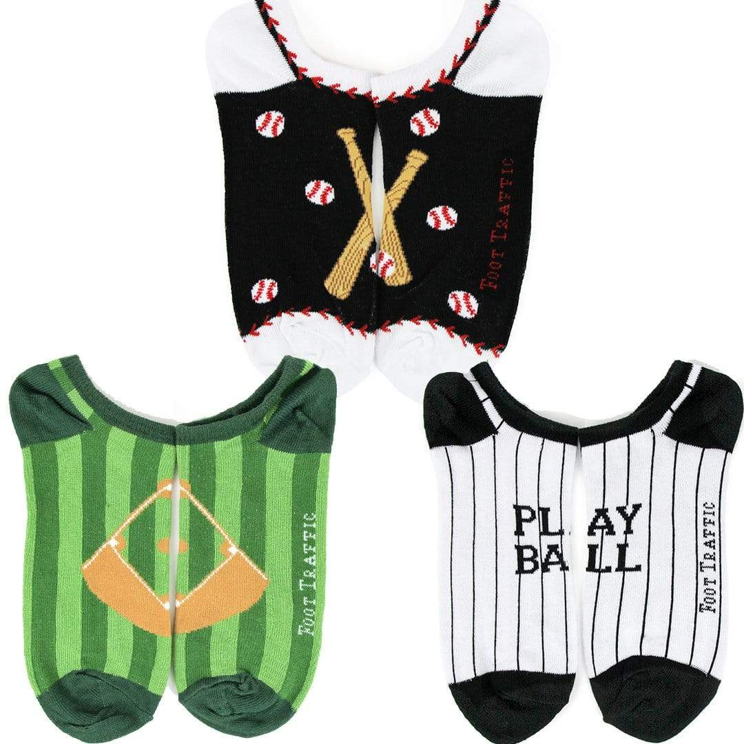 Baseball No Show Men's 3 Pack Multi