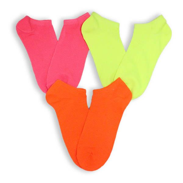 Colorful Neon Low Cut Socks 3 Pack Women's No Show Sock