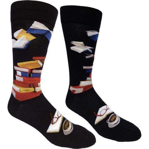 Library Socks for Literacy Men's Crew Sock black