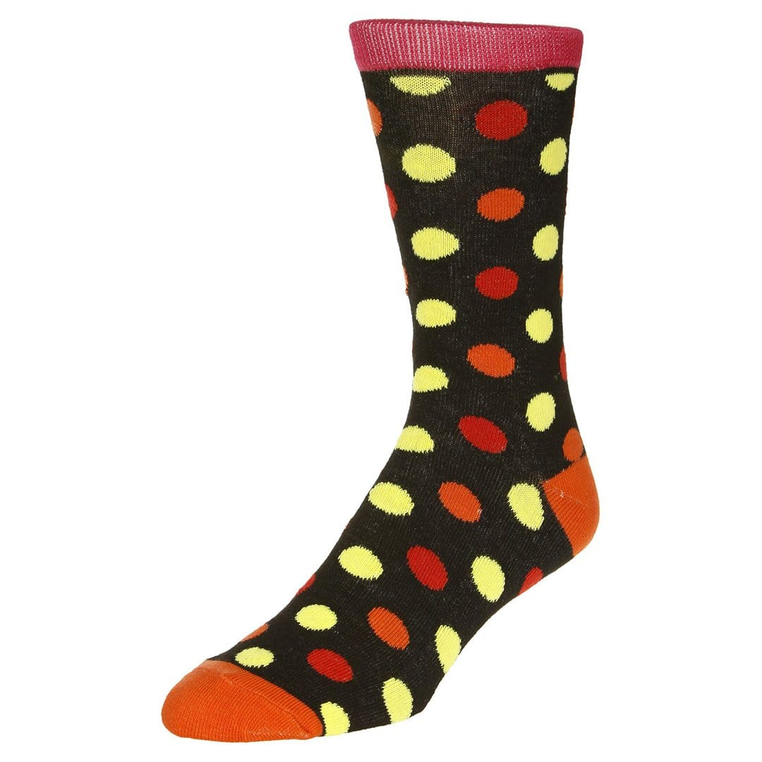 Polka Dot Socks Men's Dress Sock Black with red and yellow dots