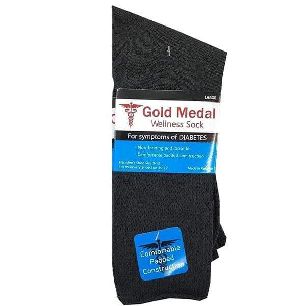 Black Diabetic 3 Pack Socks Medium / Black