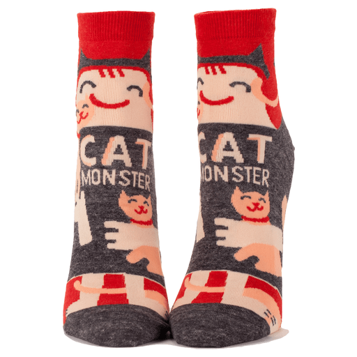 Cat Monster Socks Women's Ankle Sock red