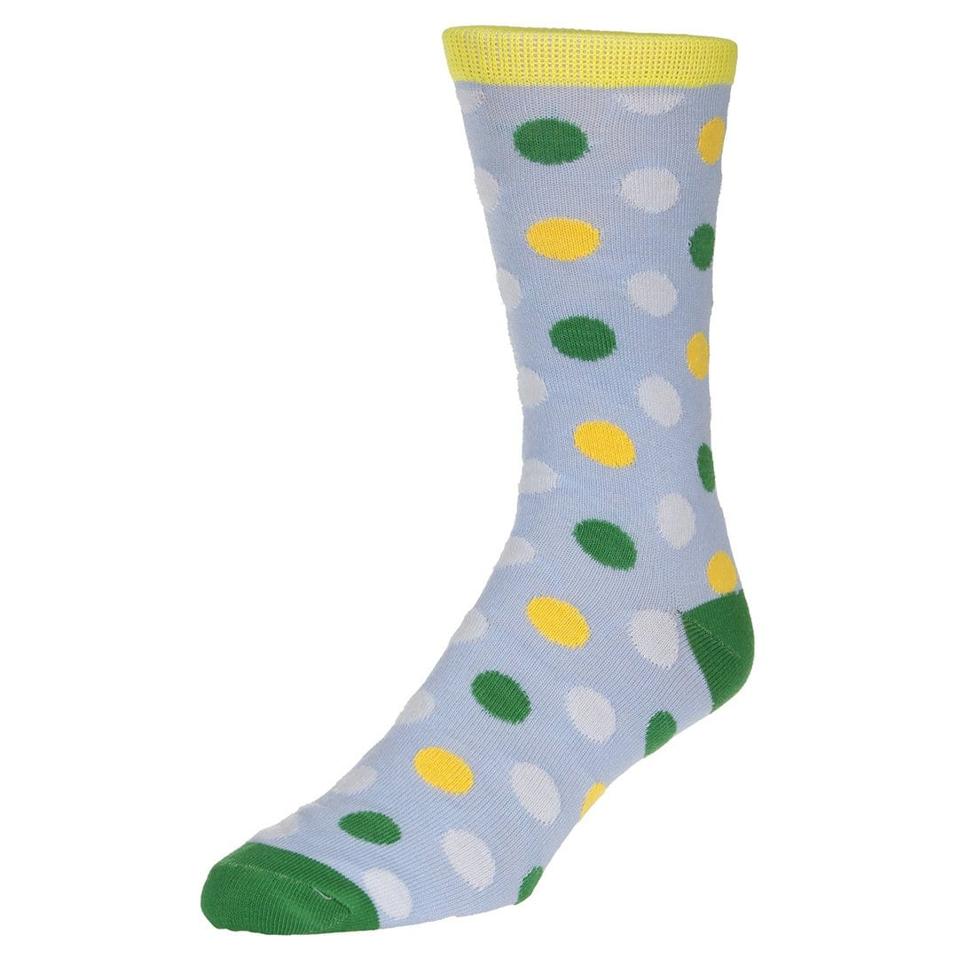 Polka Dot Socks Men's Dress Sock Sky blue with green and yellow dots