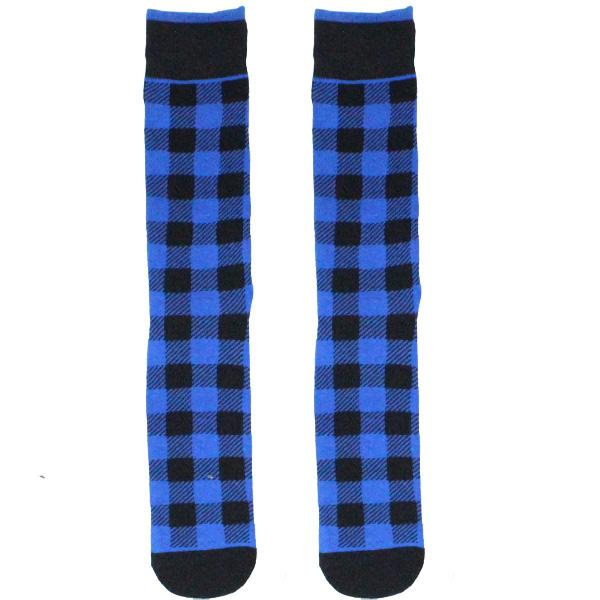 Blue Buffalo Plaid Socks Crew Sock Men's / Blue
