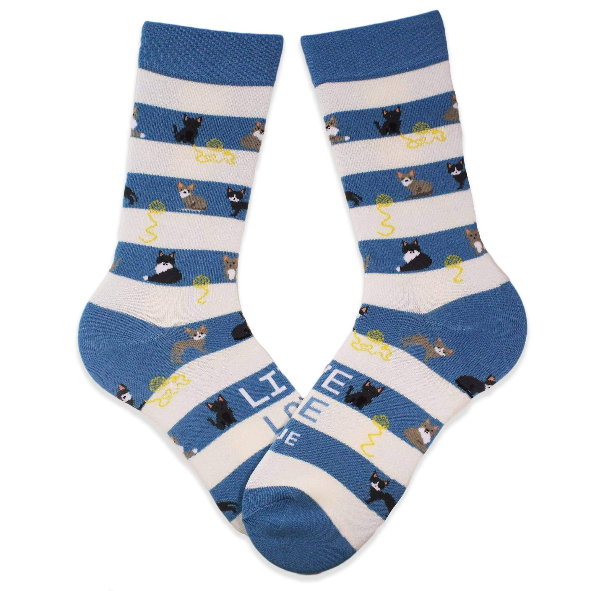 Animal Rescue Cat Stripes Socks Light Blue / Women's