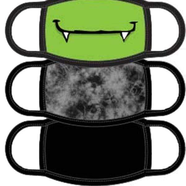 Monster Children's Face Mask 3 Pack Black / Green