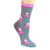 Breast Cancer Awareness Socks Women's Crew Sock Grey with Pink Ribbons / Grey