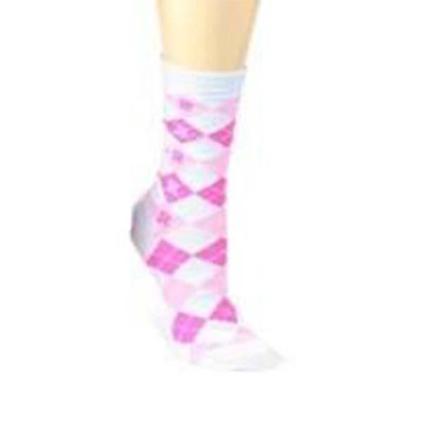 Breast Cancer Awareness Socks Women's Crew Sock Pink and White Argyle / Pink