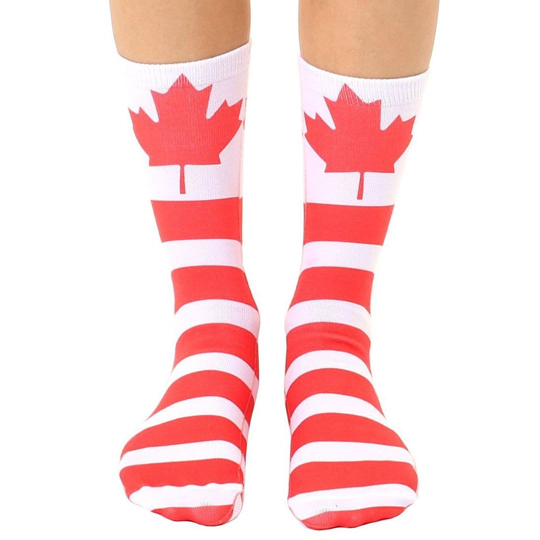 Canadian Flag Socks Unisex Crew Sock Red