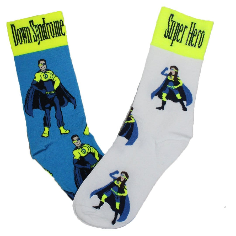 Mismatched Down Syndrome Super Hero Socks for Children