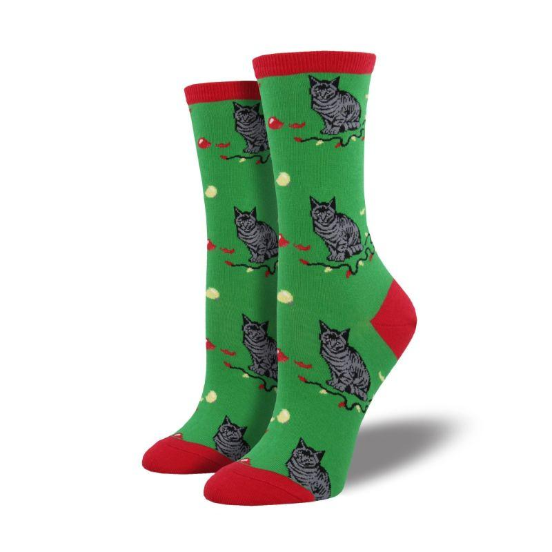 Christmas Cat-Astrophe Socks Women's Crew Sock Green