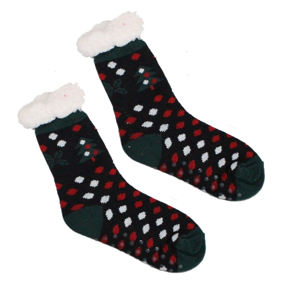 Sherpa Xmas Tree Dots Slipper Socks Non-Skid Slippers Black