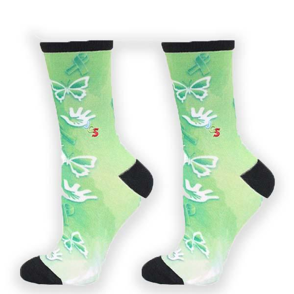 Cerebral Palsy Awareness Watercolor Crew Sock Green