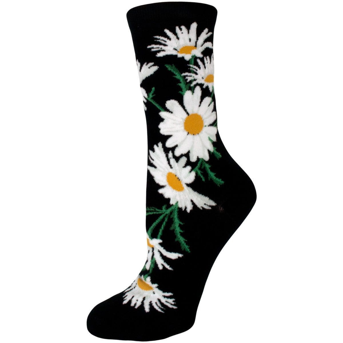 Crazy for Daisies Socks Women's Crew Sock black
