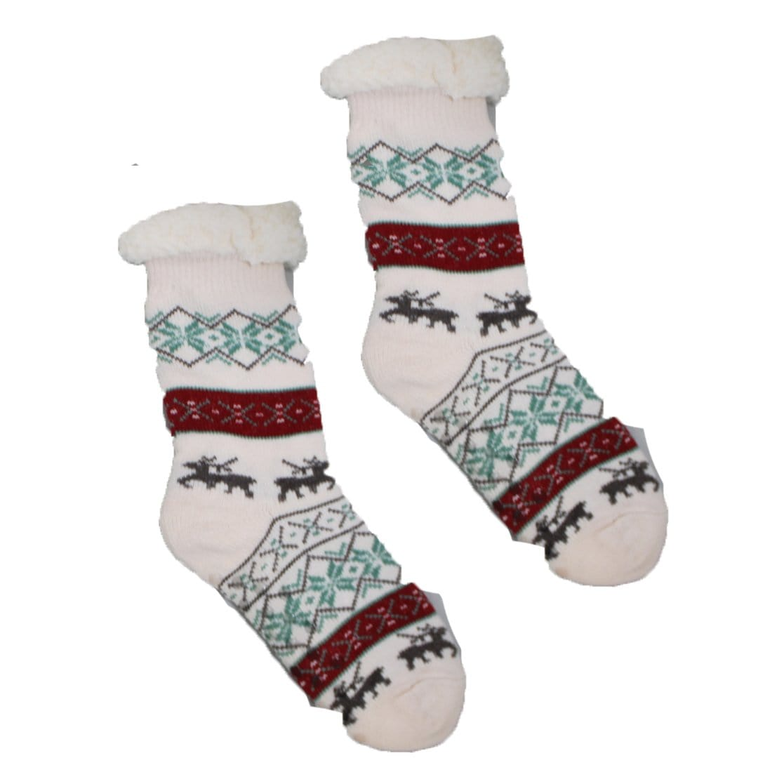 Sherpa Cream Winter Holiday Slipper Socks Non-Skid Slippers