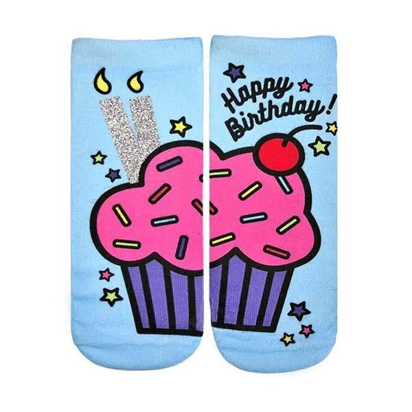 Birthday Cupcake Glitter Socks Ankle Sock Blue