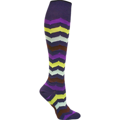 . Curved Chevron Knee High Socks - grape harvest