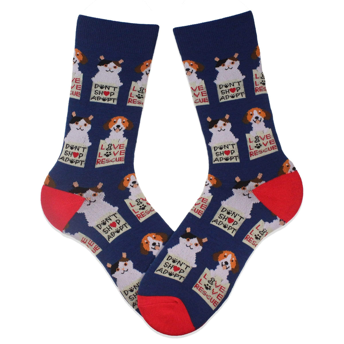 Animal Rescue Pets Adopt Don't Shop Socks Navy / Women's