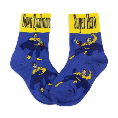Down Syndrome Superhero Boy Socks Unisex Crew Sock Children / blue