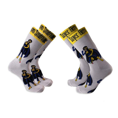 Down Syndrome Superhero Girl Socks Crew Sock Women's / white