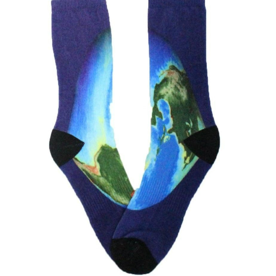 Earth Globe Socks Crew Sock Blue / Men's