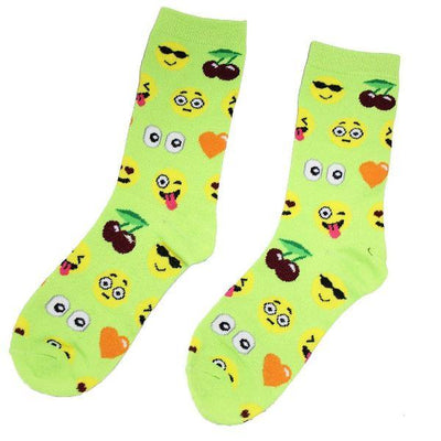 Emoji Socks Women's Crew Socks Lime with emojis