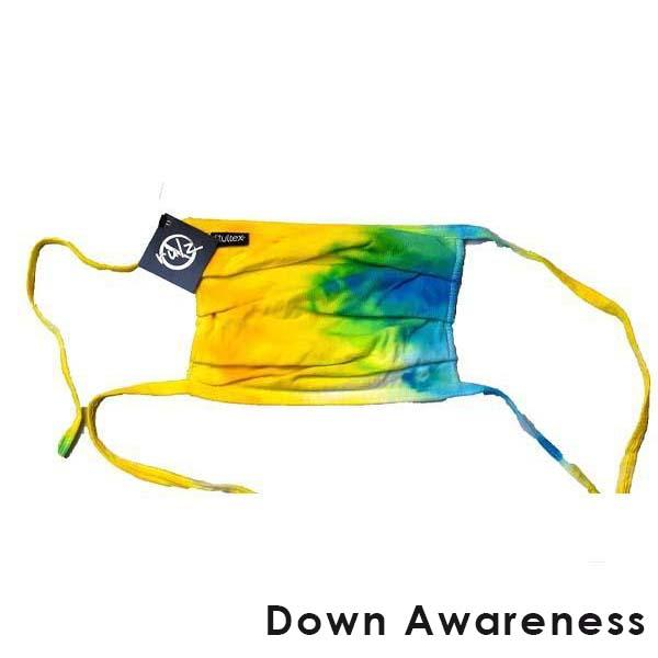 Yellow Tie Dye No Rulz Art Pleated Face Mask with Ties Down Awareness -  Yellow / Blue