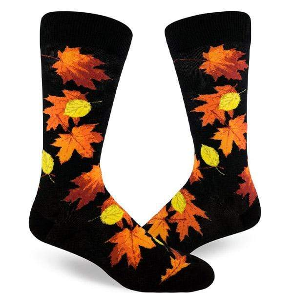 Fall Leaves Socks Men's Crew Sock Black