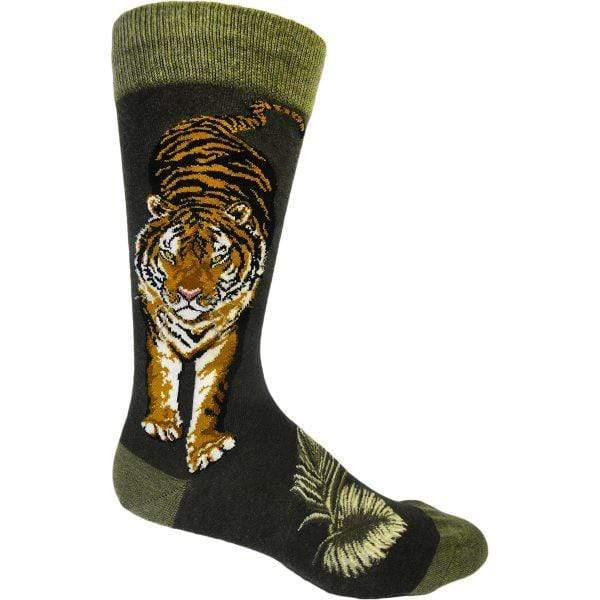 Fierce Tiger Socks - Crew Sock for Men Green