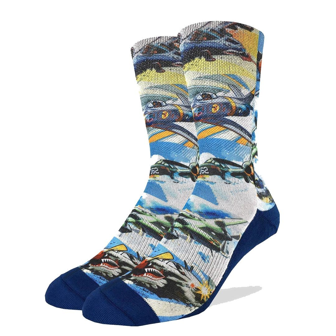 Fighter Jets of the 50's Active Fit Crew Socks Men's Sock