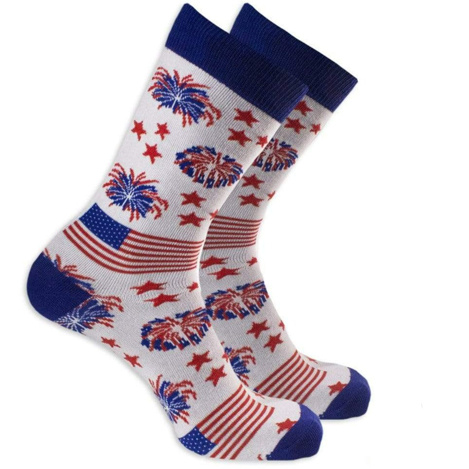 John's Patriotic Firework Socks Unisex Crew Sock Men's / White