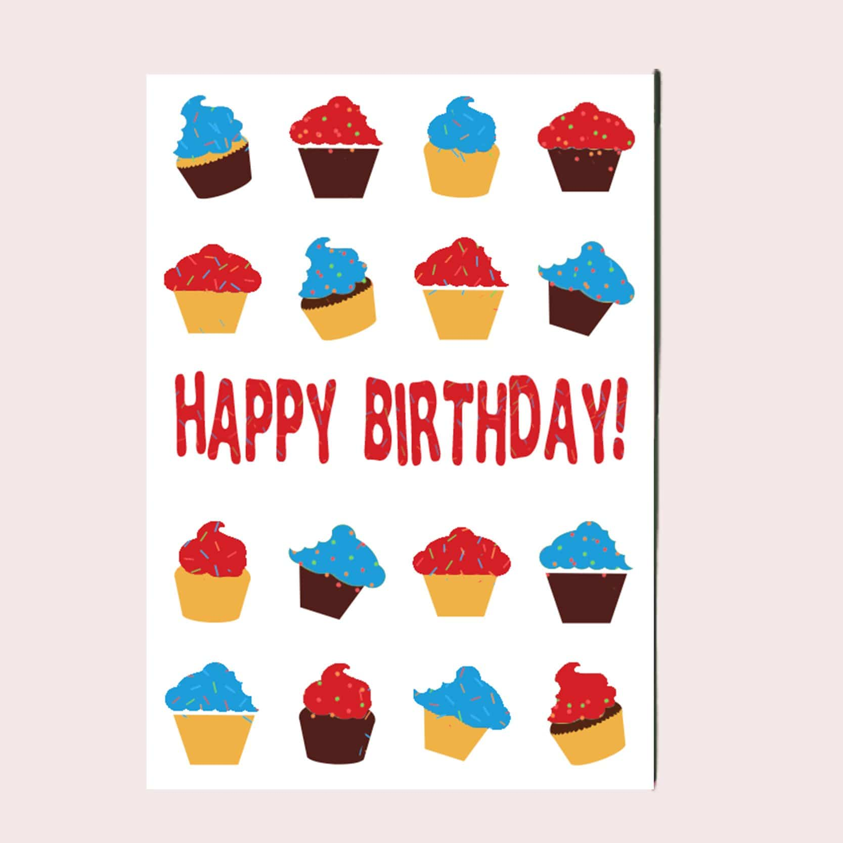 Happy Birthday Cupcakes Greeting Card Single Card