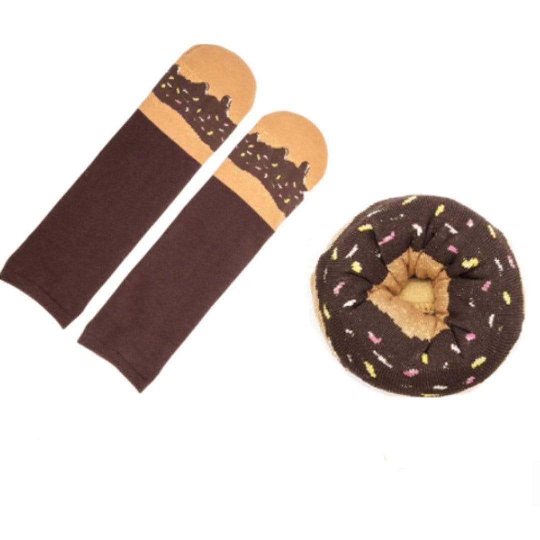 Doughnut Socks Unisex Crew Sock Brown - Fudge Sprinkles