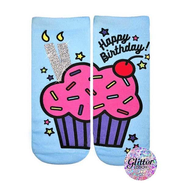 Birthday Cupcake Glitter Socks Ankle Sock