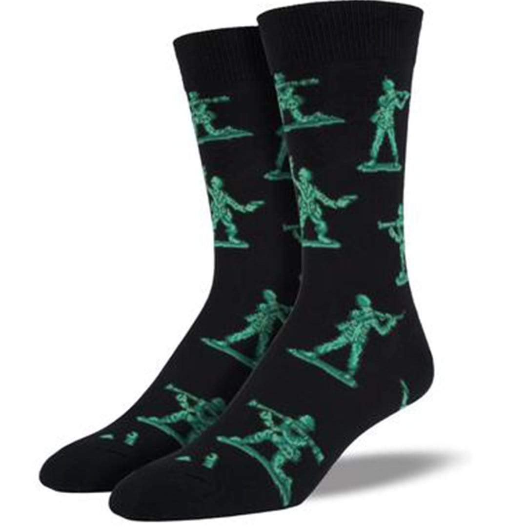Army Men Socks Men's Crew Sock Shoe Size 7-12 / Black