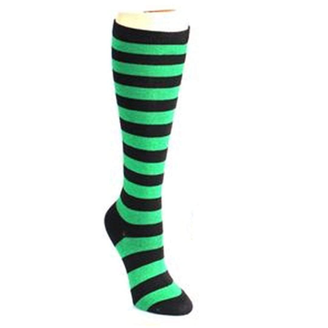 Bold Striped Socks Women's Knee High Sock Green and black