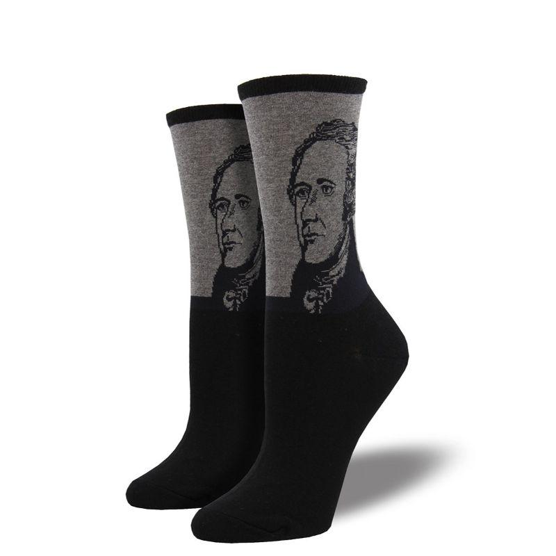 Alexander Hamilton Socks Women's Crew Sock Grey