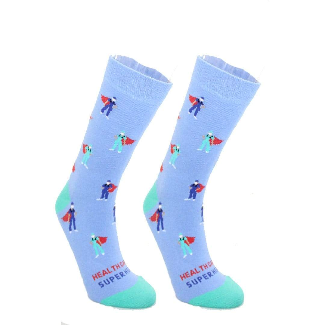 Healthcare Superhero Sock Crew Socks Blue / Women's