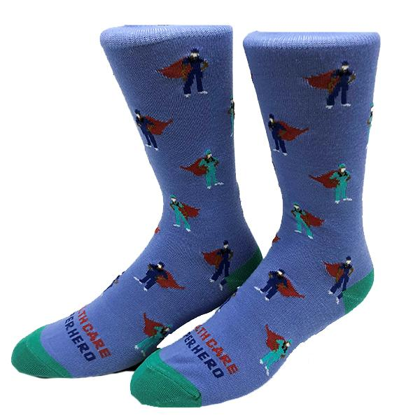 Healthcare Superhero Sock Crew Socks Blue / Men's