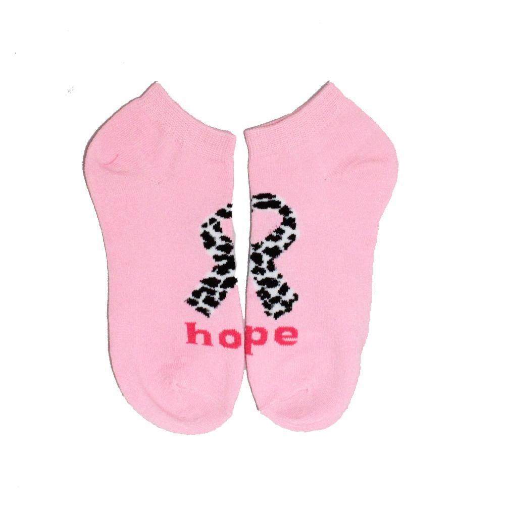 Pink Ribbon Breast Cancer Awareness Socks Women's Ankle Sock Hope - Light Pink with Cheetah Print